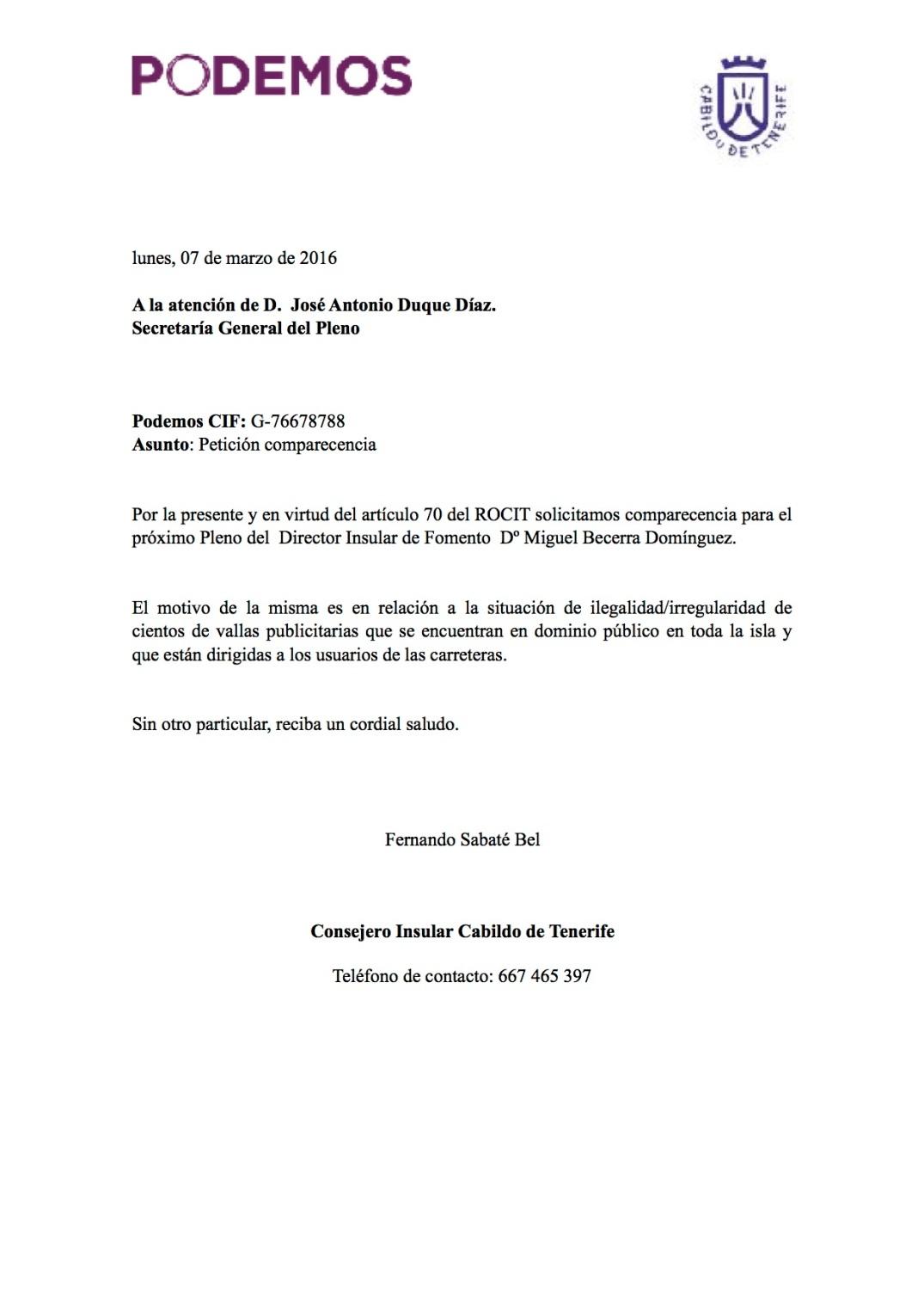 Solicitud Comparecencia Vallas Ilegales, Podemos Tenerife