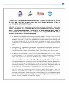 Campaña publicitaria dudosa sobre acuerdo plenario del Cabildo en torno a Cataluña, Podemos Tenerife 30 octubre 2017