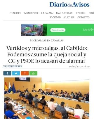 Noticia completa en http://diariodeavisos.elespanol.com/2017/10/vertidos-microalgas-al-cabildo-podemos-asume-la-queja-social-cc-psoe-lo-acusan-alarmar/