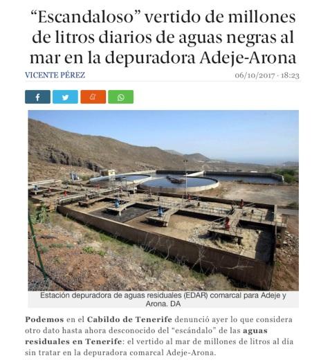 Escandaloso vertido de millones de litros diarios de aguas negras al mar en la depuradora Adeje-Arona, denuncia Podemos Tenerife, Fernando Sabate (octubre 2017)