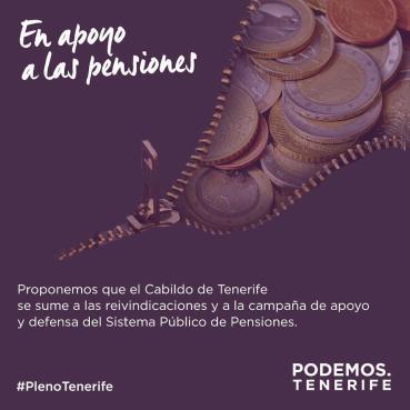 Mocion defensa pensiones publicas, Podemos Cabildo Tenerife (pleno insular enero 2018)