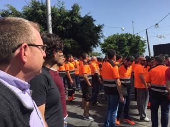 apoyo podemos cabildo tenerife a estibadores santa cruz, protesta febrero 2017